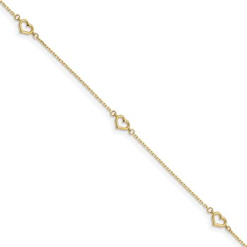 14K Heart 10in Plus 1in ext. Anklet