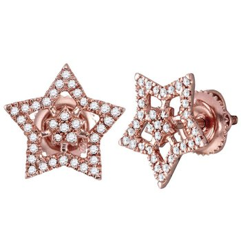 10kt Rose Gold Womens Round Diamond Star Cluster Stud Earrings 1/5 Cttw