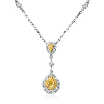 Double Pear Diamond Drop Necklace