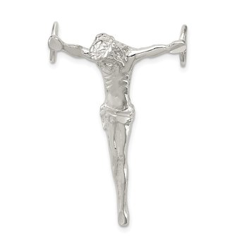 Sterling Silver Polished Jesus Cross Chain Slide Pendant