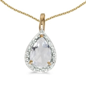 10k Yellow Gold Pear White Topaz Pendant