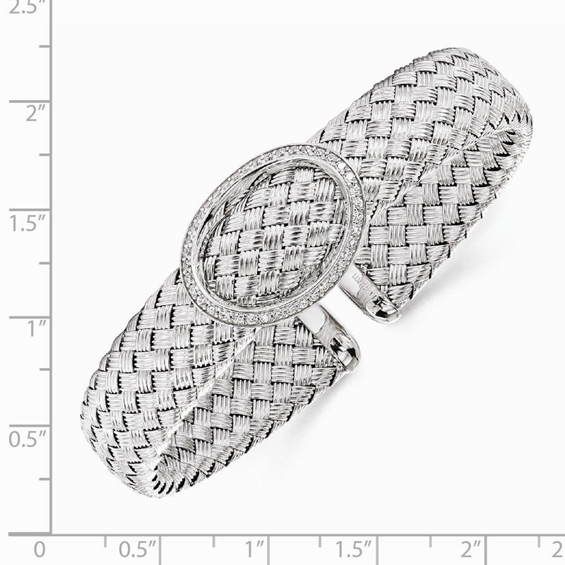 Leslie's Leslie's Sterling Silver CZ Woven Flexible Cuff