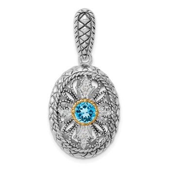 Sterling Silver Rhodium w/14k Accent Blue Topaz & CZ Oval Pendant