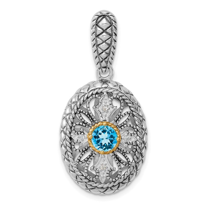 Quality Gold Sterling Silver Rhodium w/14k Accent Blue Topaz & CZ Oval Pendant