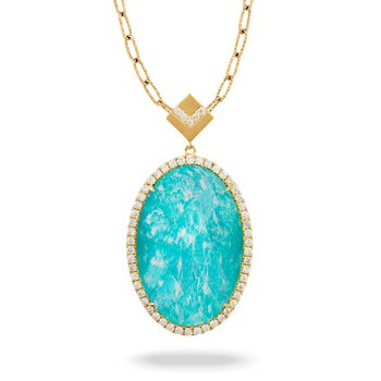 Amazon Breeze Oval Halo Pendant 18KY