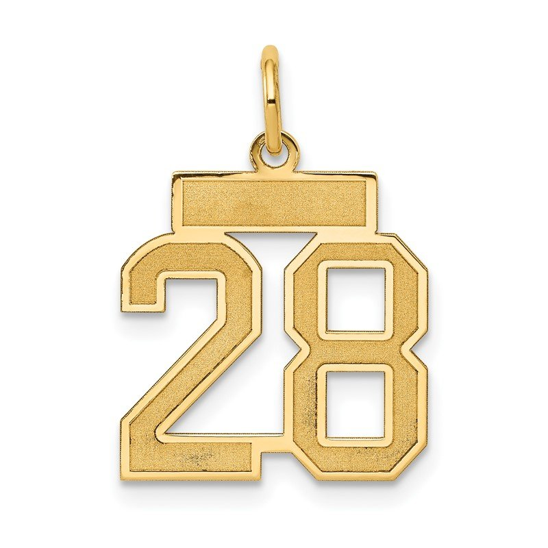 Quality Gold 14k Small Satin Number 28 Charm