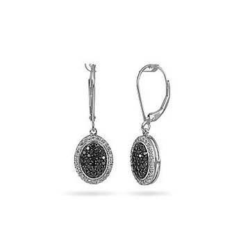 14K WG Black and White Diamond Oval Shape Dangling Ear