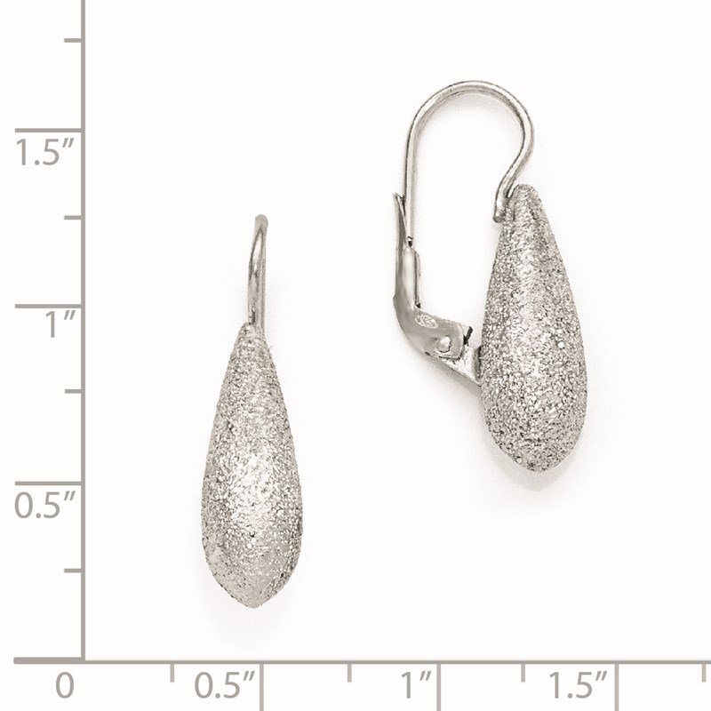 Leslie's Leslie's SS Radiant Essence Rhodium-plated Leverback Earrings