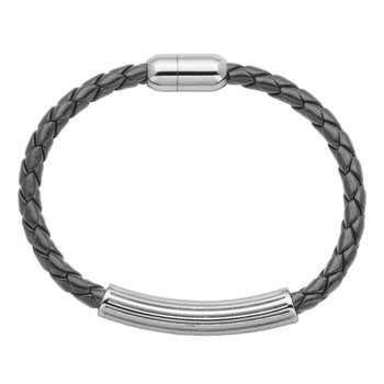 Stainless Steel Bracelet with Black Leather 8.5""