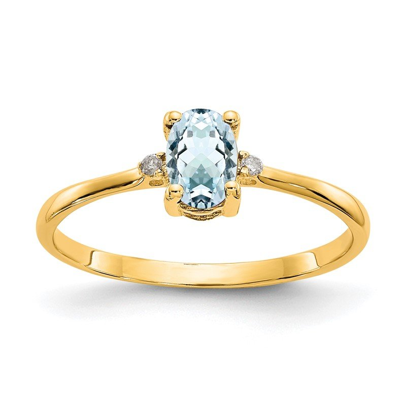 Quality Gold 14k Diamond & Aquamarine Birthstone Ring
