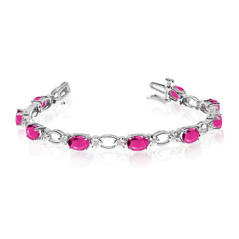 Color Merchants 14k White Gold Natural Pink-Topaz And Diamond Tennis Bracelet