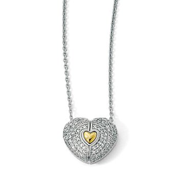 Sterling Silver Gold-plated w/Sapphire Magnetic Heart Adjustable Necklace
