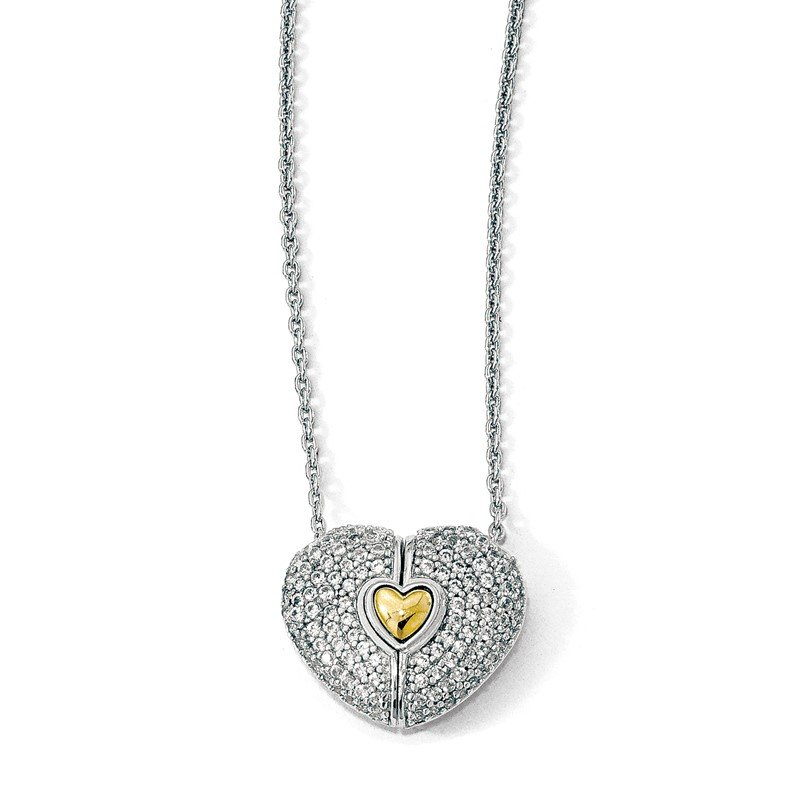 Quality Gold Sterling Silver Gold-plated w/Sapphire Magnetic Heart Adjustable Necklace