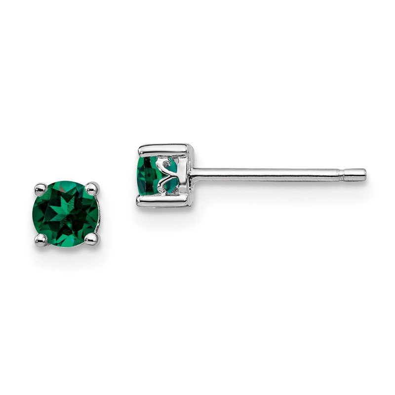 Quality Gold Sterling Silver Rhodium-plated 4mm Round Created Emerald Post Earrings