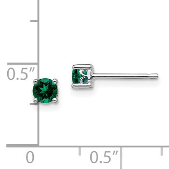 Sterling Silver Rhodium-plated 4mm Round Created Emerald Post Earrings