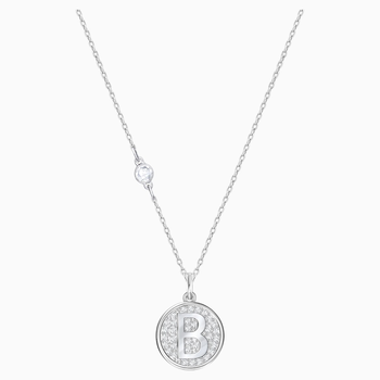 Letter B Pendant, White, Rhodium plating