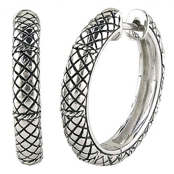 Sterling Silver Round Large Hoop Earrings