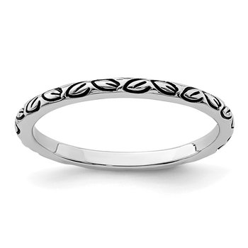 Sterling Silver Rhodium-plated Antiqued Leaf Band