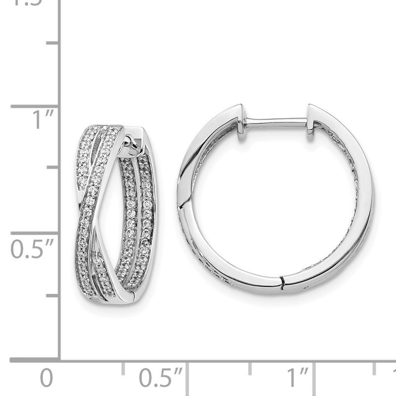 Quality Gold 14k White Gold Diamond In/Out Hoop Earrings