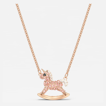 Sweet Unicorn Necklace, Pink, Rose-gold tone plated