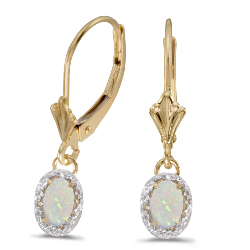 14k Yellow Gold Oval Opal And Diamond Leverback Earrings