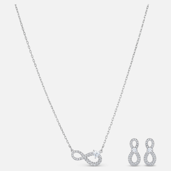 Swarovski Infinity Set, White, Rhodium plated