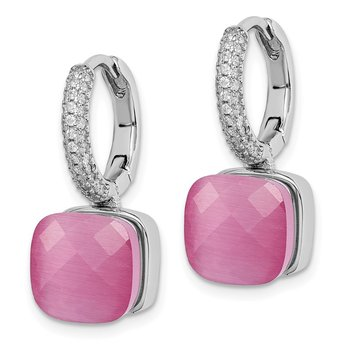 Sterling Silver Rhod-plated CZ Lab Cr Pink Cat's Eye Hinged Hoop Earrings