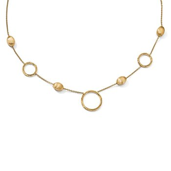 Leslie's 14k Polished D/C Scratch-finish with .75in ext. Necklace