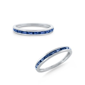 Blue Sapphire Stackable Everyday Color Band Set in 14 Kt. Gold