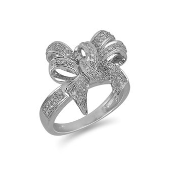 925 Sterling Silver & Diamond Fashion Ring