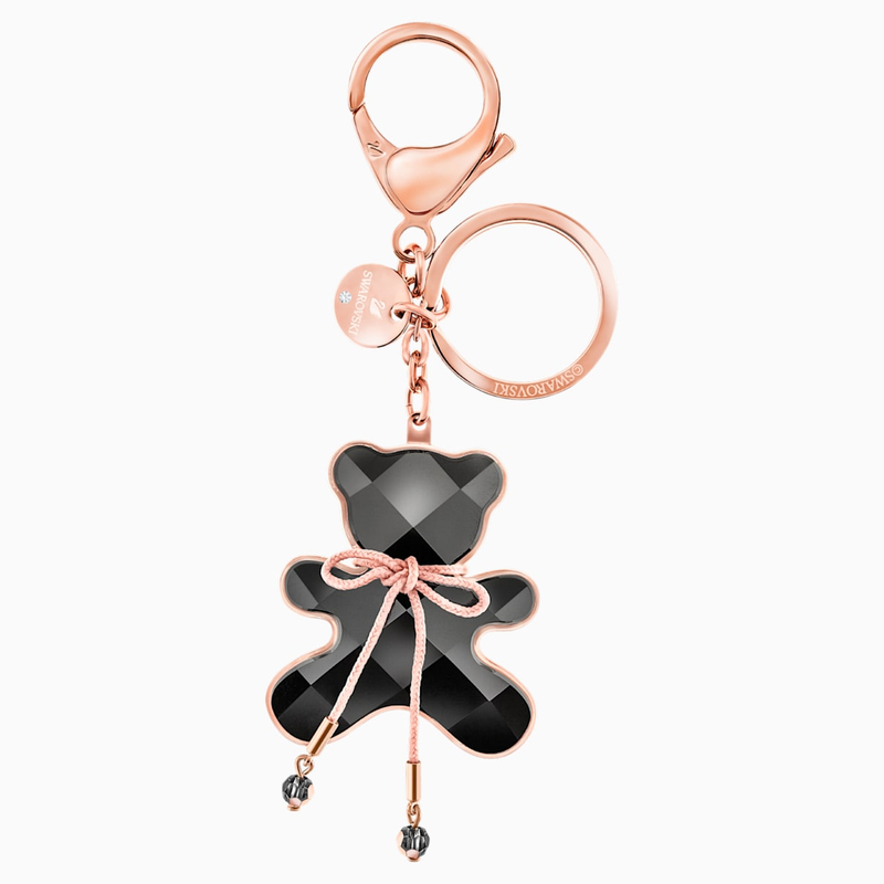 Swarovski Archibald Bag Charm, Black, Rose gold plating