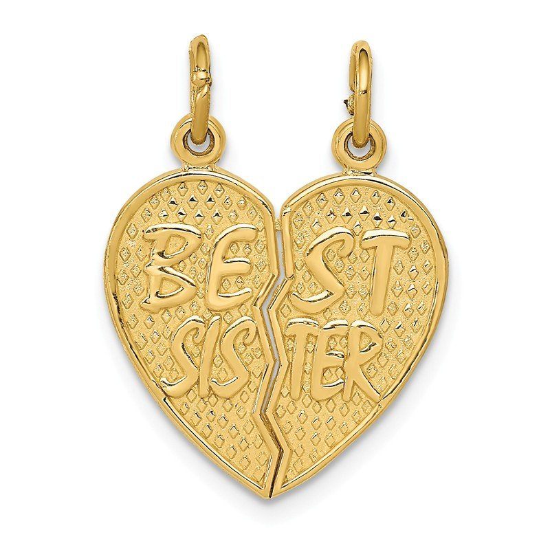 Quality Gold 14k Best Sister Break-apart Charm