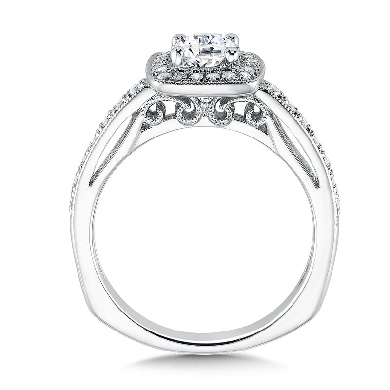 Valina Bridals Cushion shape halo mounting .29 ct. tw., 5/8 ct. round center.