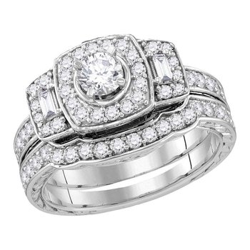 14kt White Gold Womens Round Diamond Bridal Wedding Engagement Ring Band Set 1.00 Cttw (Certified)