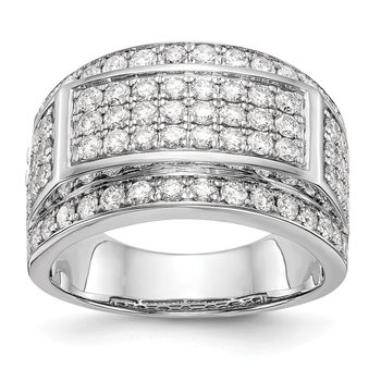 14K White Gold Diamond Men's Band