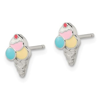 Sterling Silver Rhodium-plated Post Enameled Ice Cream Cone Earrings