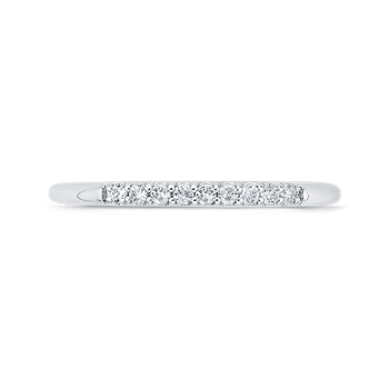 18K White Gold Round Diamond Wedding Band with Euro Shank