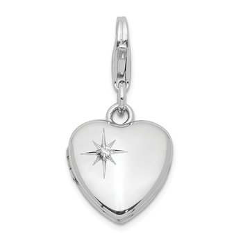Sterling Silver & Dia. Lobster Clasp 12mm Heart Locket