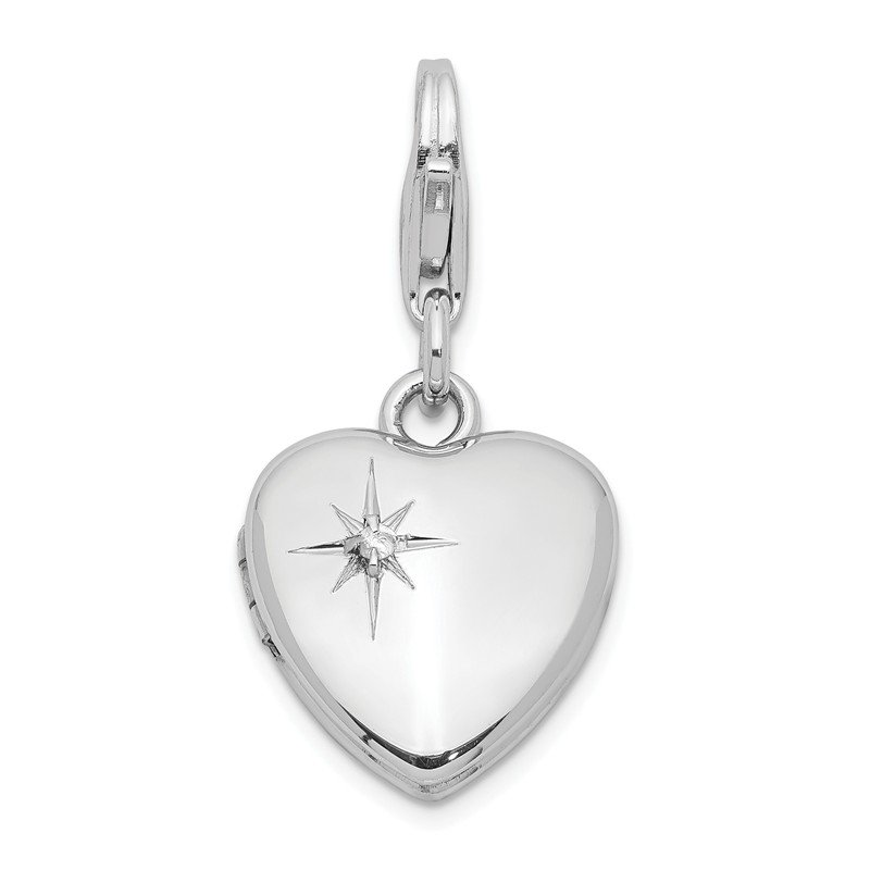 Quality Gold Sterling Silver Rhodium-plated & Dia. Lobster Clasp 12mm Heart Locket