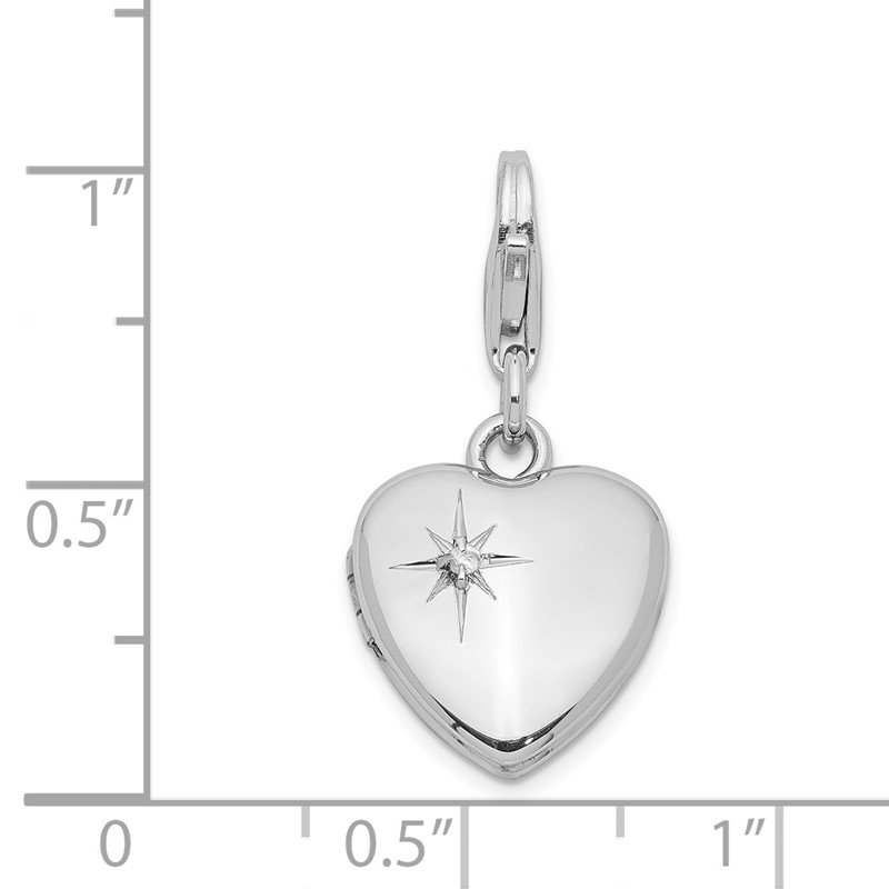 Quality Gold Sterling Silver & Dia. Lobster Clasp 12mm Heart Locket