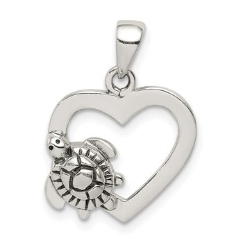 Sterling Silver Antiqued Heart and Turtle Pendant