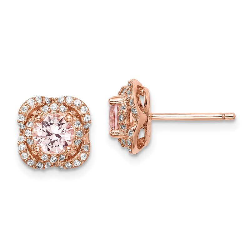 Quality Gold Sterling Silver Rose Gold-pltd Pink Crystal Center and CZ Stud Earrings