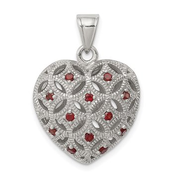 Sterling Silver Rhodium-plated w/Garnet Heart Pendant
