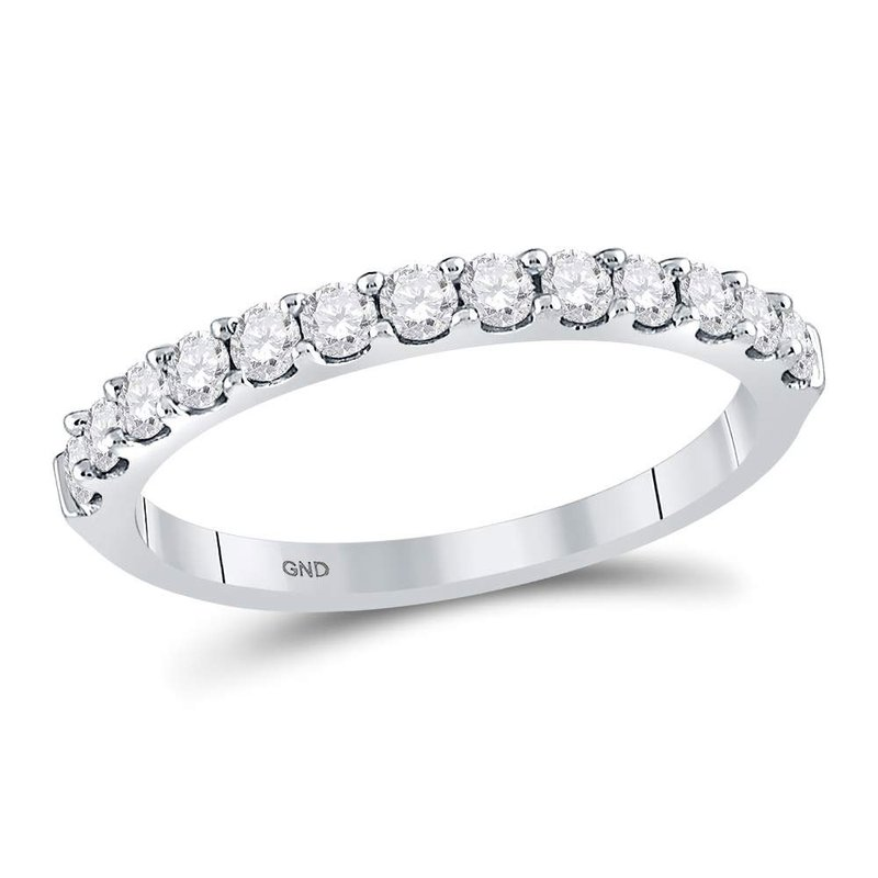 Kingdom Treasures 14kt White Gold Womens Round Diamond Single Row Wedding Band 1/2 Cttw