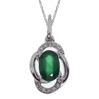 14k White Gold  Basic Emerald Oval Pendant
