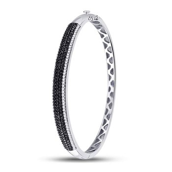 14kt White Gold Womens Round Black Color Enhanced Diamond Bangle Bracelet 1-1/2 Cttw