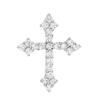 14K White Gold .53 Ct Diamond Cross Pendant