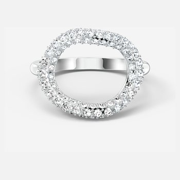 The Elements Air Ring, White, Rhodium plated
