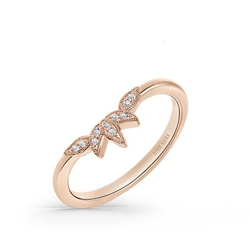 Three Leaf Petite Diamond Wedding Band