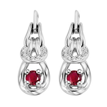 14K Ruby & Diamond Earrings